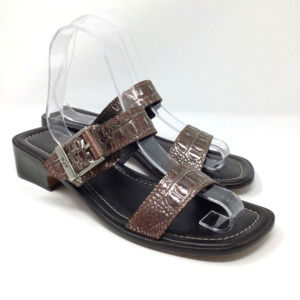 DONALD J PLINER Embossed Leather Slide Sandals 8.5